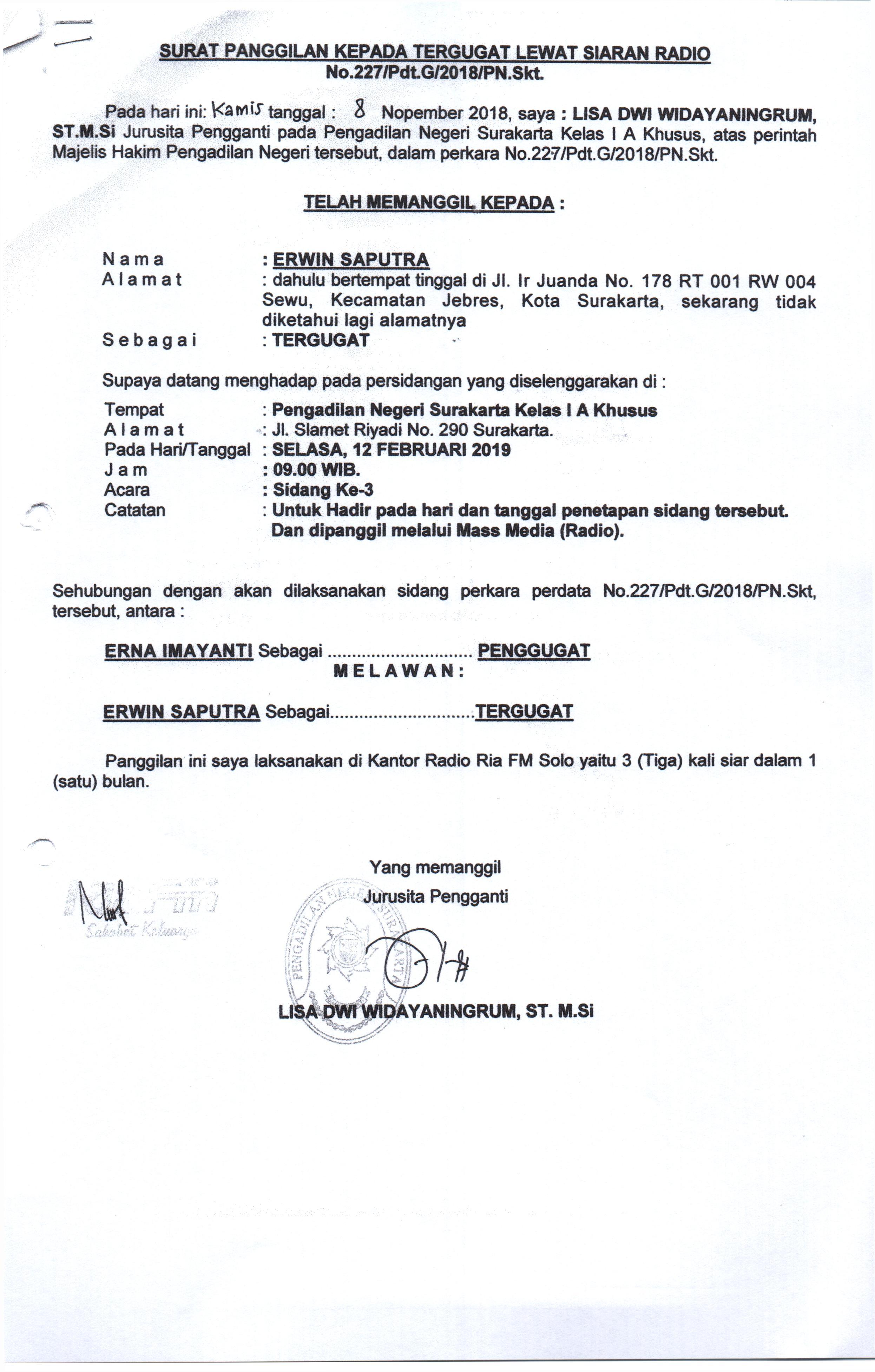 Relaas Panggilan Umum - Sidang Tanggal 12 Maret 2019 - Erwin Saputra