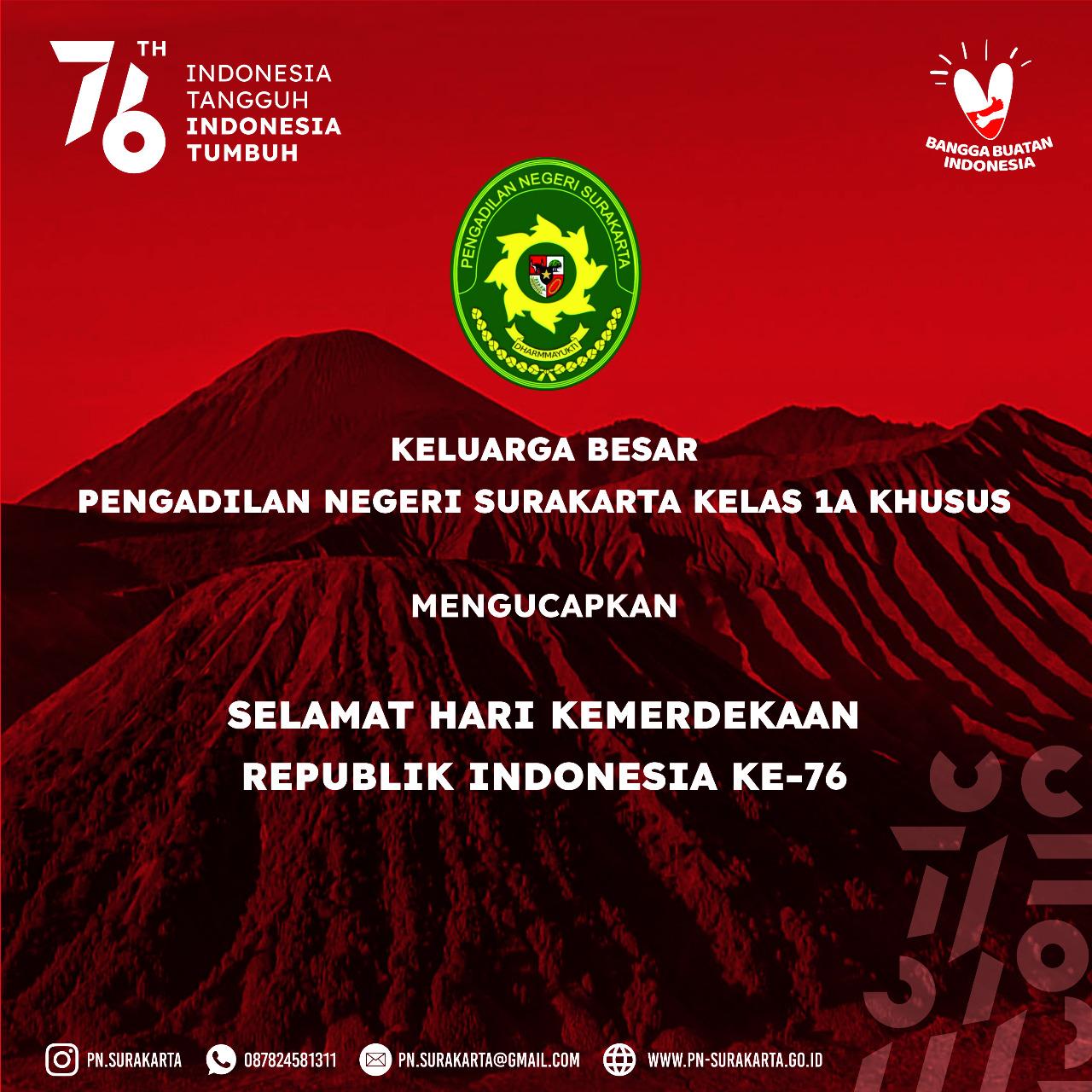 Dirgahayu Republik Indonesia yang Ke-76 Tahun 2021