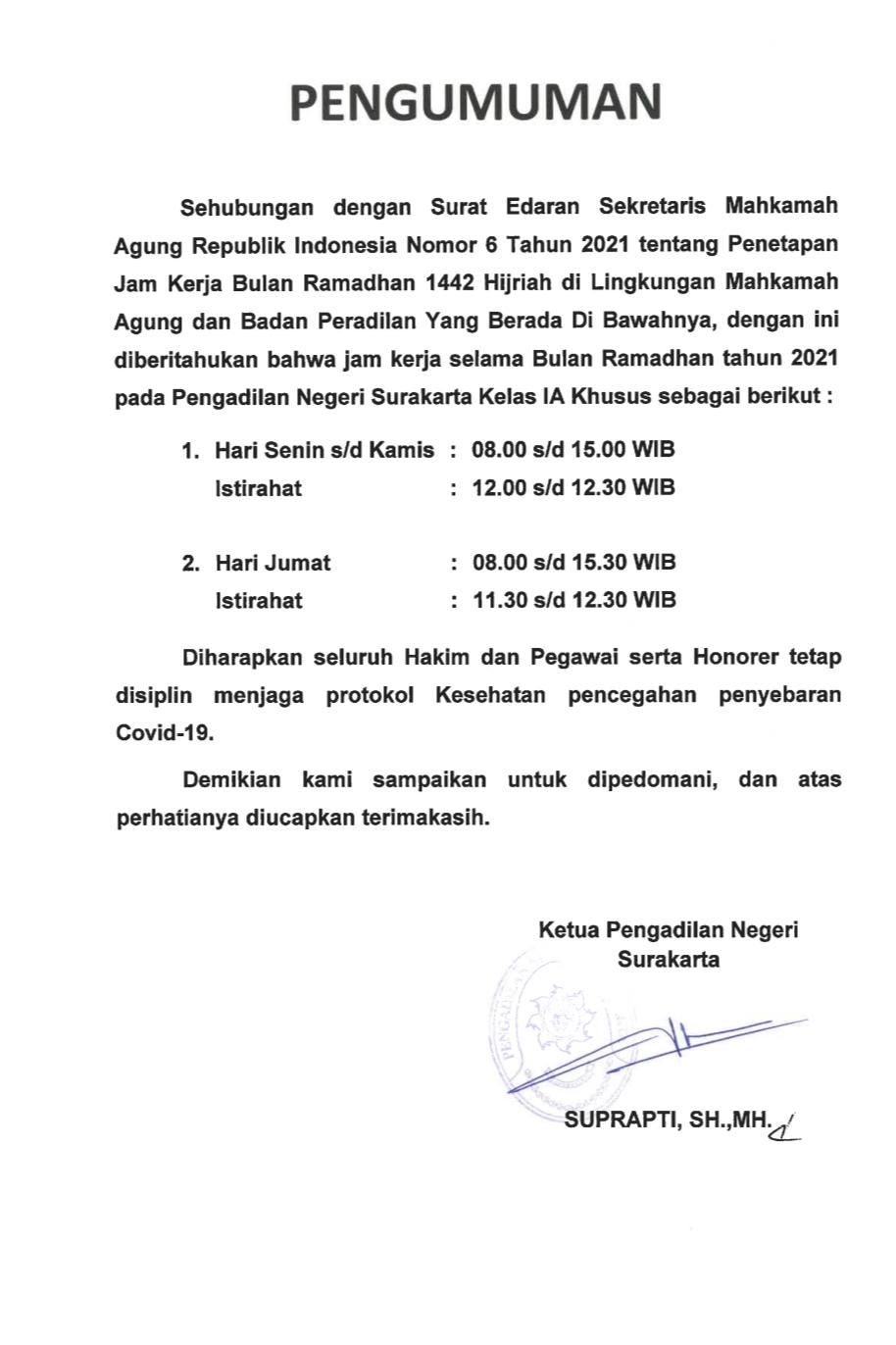 Jam Kerja Selama Bulan Ramadhan 1442 H / Tahun 2021