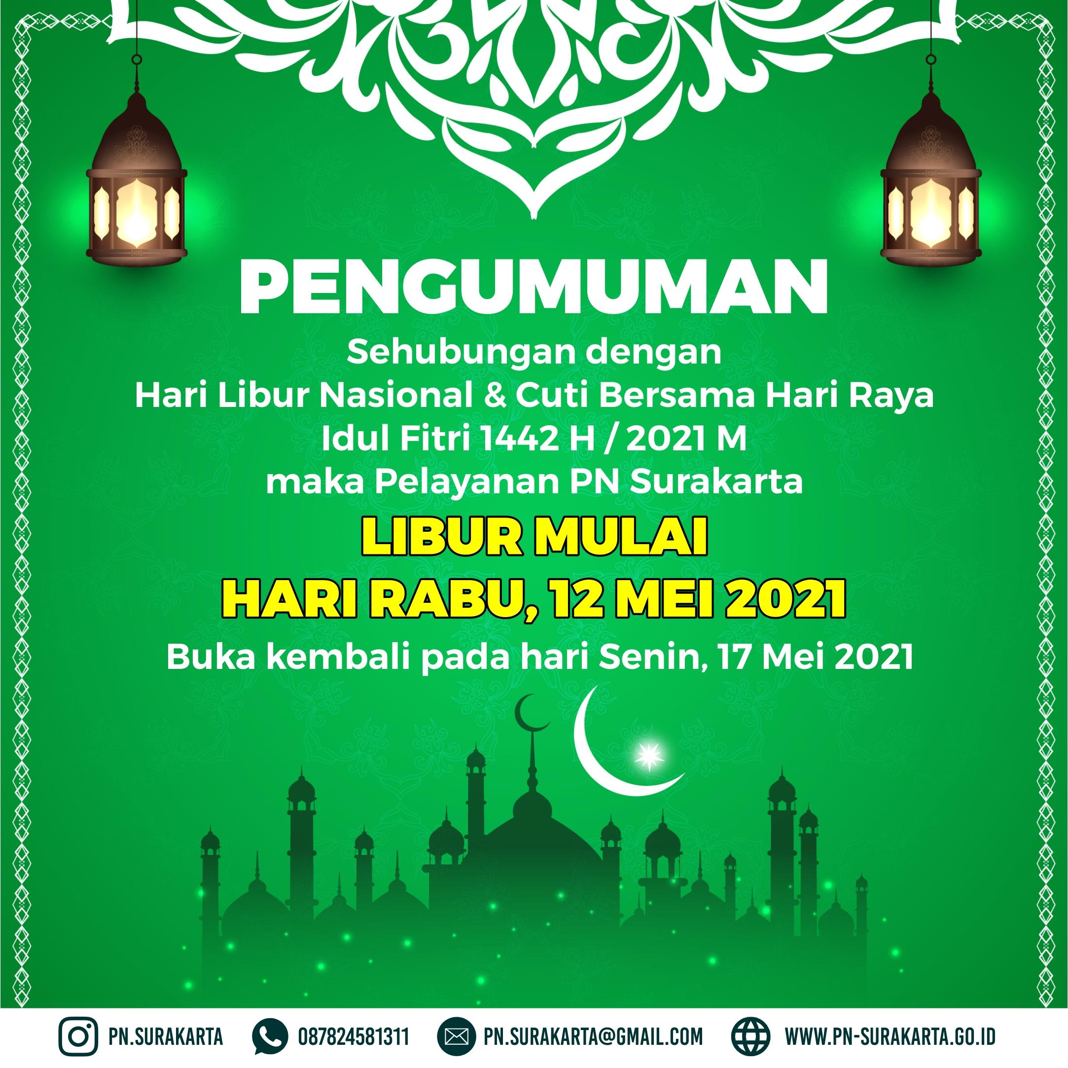 Pengumuman Libur Ramadhan 1442 H / Tahun 2021